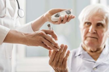 Unrecognizable nurse is doing a glucose level finger blood test of a diabetic senior man.   [url=http://www.istockphoto.com/search/lightbox/9786662][img]http://dl.dropbox.com/u/40117171/medicine.jpg[/img][/url]