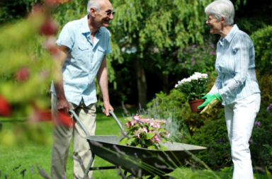 Casal de idosos cuidando do jardim , Nov17